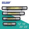 Oslamp 3-row taza reflexión virutas del cree offroad led barra ligera del trabajo de conducción Barra de luz 12 V 24 V Combo Led Bar para SUV ATV UTV Camioneta