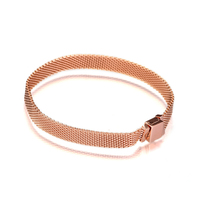 2018 Fashion Rose Golden Reflexions Bracelets for Women & Men Silver 925 Jewelry DIY Starter Bracelets for Reflexions Beads New
