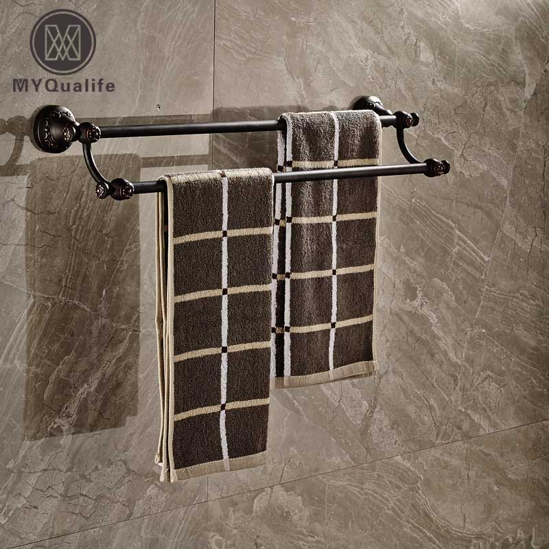 Wall Mount Brass Bathroom Double Towel Bar Oil Rubbed Bronze Finish allen roth brinkley handsome oil rubbed bronze metal toothbrush holder