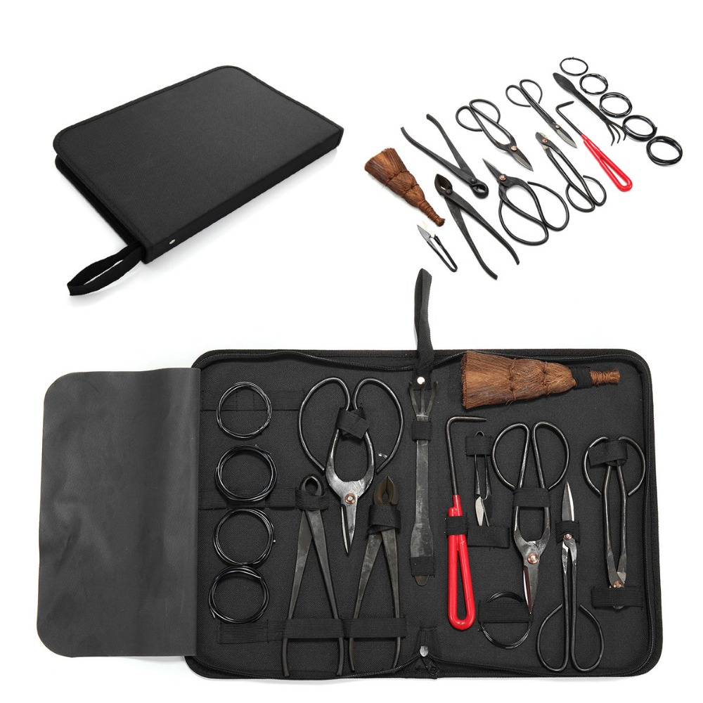 Brand new bonsai tools set multi function bonsai kit 14 piece set Carbon Steel Shear Set