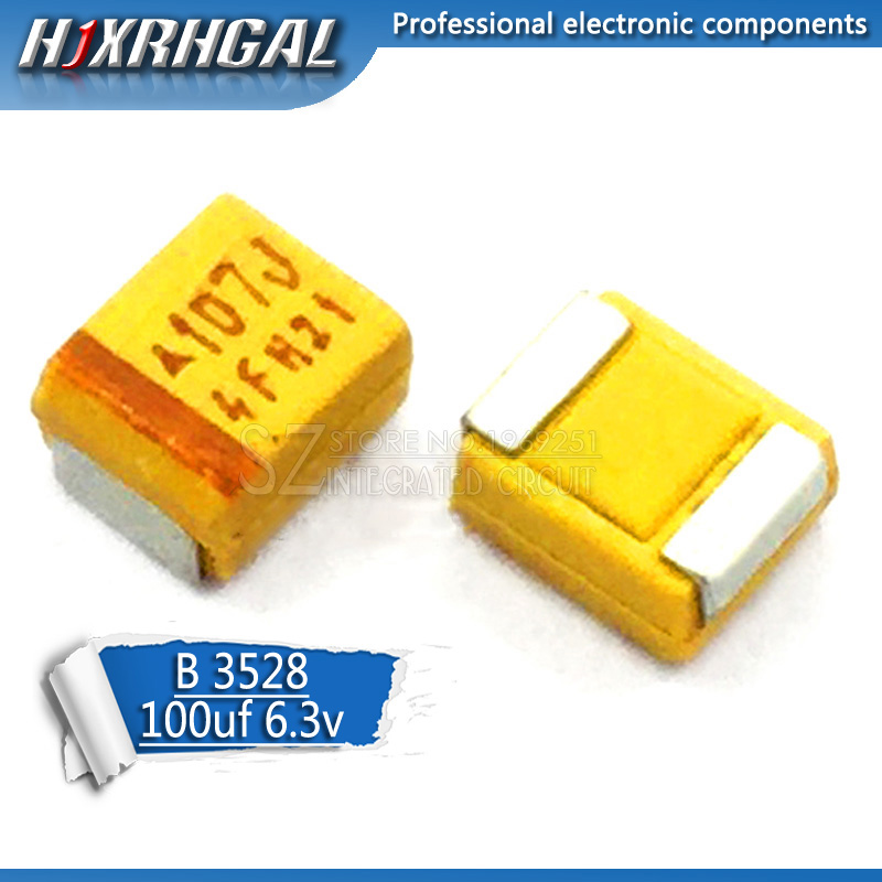 10pcs B 3528 <font><b>100uF</b></font> 6.3V 107 <font><b>SMD</b></font> tantalum capacitor hjxrhgal image