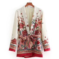 Aibo Carla Women Vintage Floral Print Blazer Feminine Casaco Tops Bow Tie Sashes Long Sleeve Coat Female Retro Chic Outerwear