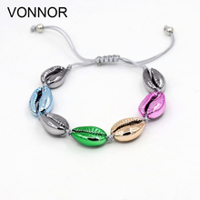 VONNOR Fashion Jewelry Natural Shell Plating Color Bracelet Women Summer Accessories Handmade Beaded Friendship Strand