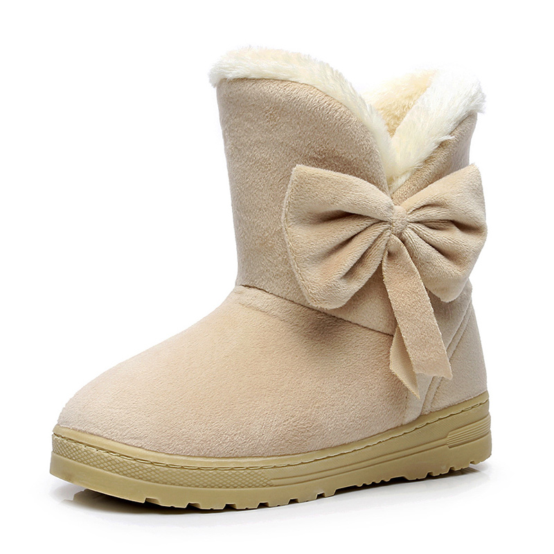 Female Warmer Plush Bowtie Fur Suede Women Boots Flat Women Shoes Slip On Winter Ankle Snow Boots Women's Fashion Platform designer women winter ankle boots female fur lace up snow boots suede plush sewing botas