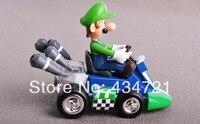 Classic Game Nintendo Super Mario Bros Luigi Mario Pull Back Kart PVC Figure Toys Spring Back