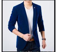 Mens Blazer Slim Fit Suit Jacket Black Navy Blue Velvet 2015 Spring Autumn Outwear Coat Free