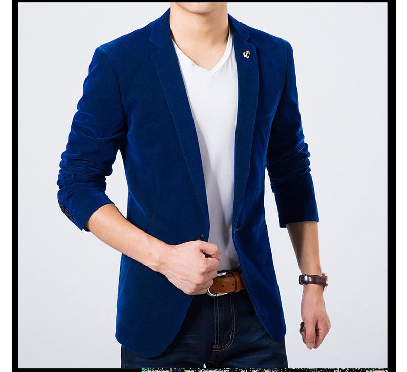2018Mens Blazer Slim Fit Suit Jacket Green Navy Blue Velvet  Spring Autumn Outwear Coat Free Shipping Suits For Men