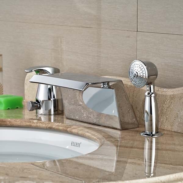 Creative Design Waterfall Bathroom Tub Faucet W/ Hand Sprayer Deck Mounted Chrome Brass waterfall spout single lever bathroom tub faucet with hand sprayer deck mounted chrome brass