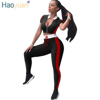 HAOYUAN Two Piece Set Striped Patchwork Short Sleeve Tops And Bodycon Pants Sweat Suits Casual Summer