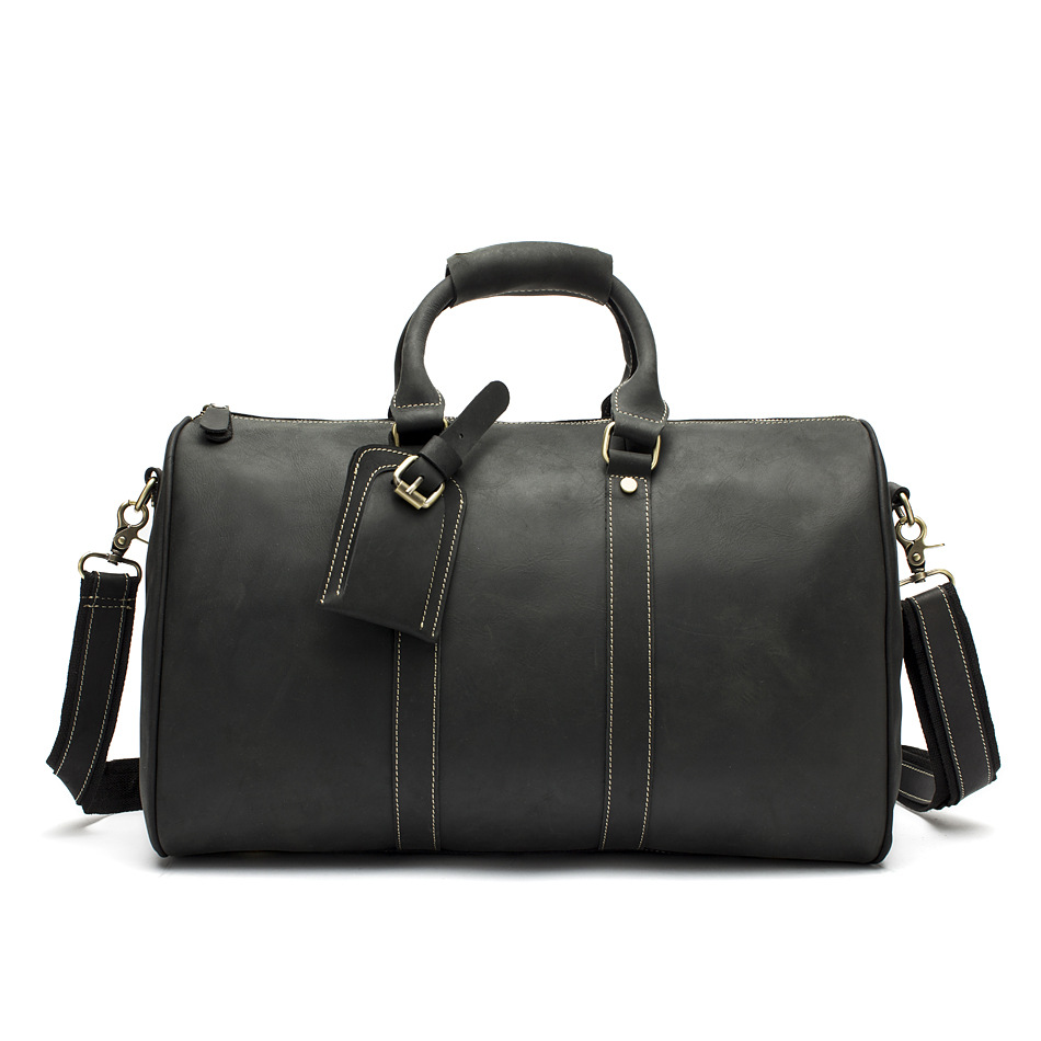 Hot Sale Genuine Leather Bag Fashion Top Layer Cow Leather Men Large Travel Bag Designer Simple Patchwork Black Hand Bag - 6