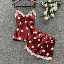Herislim Womens Pajamas Polka Dot Pyjamas Home Clothes Silk Pajama Set Sexy Satin Sleepwear Cute Summer Pijama with Chest Pads