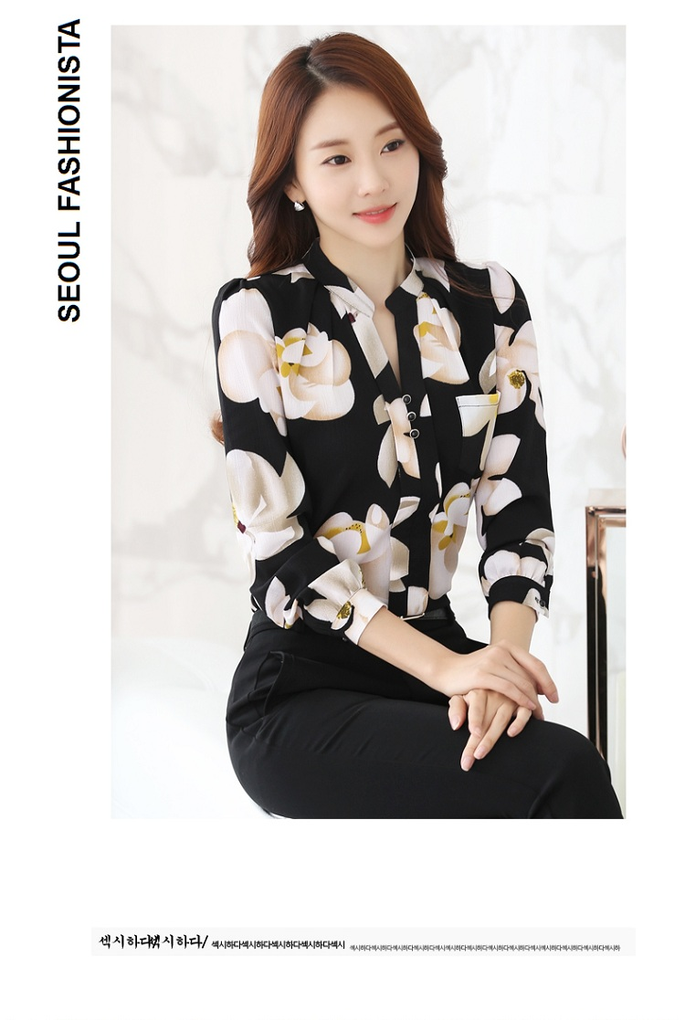 HTB15Is2NFXXXXXQXpXXq6xXFXXXj - FREE SHIPPING Women Floral Chiffon Blouse  Work Office JKP116
