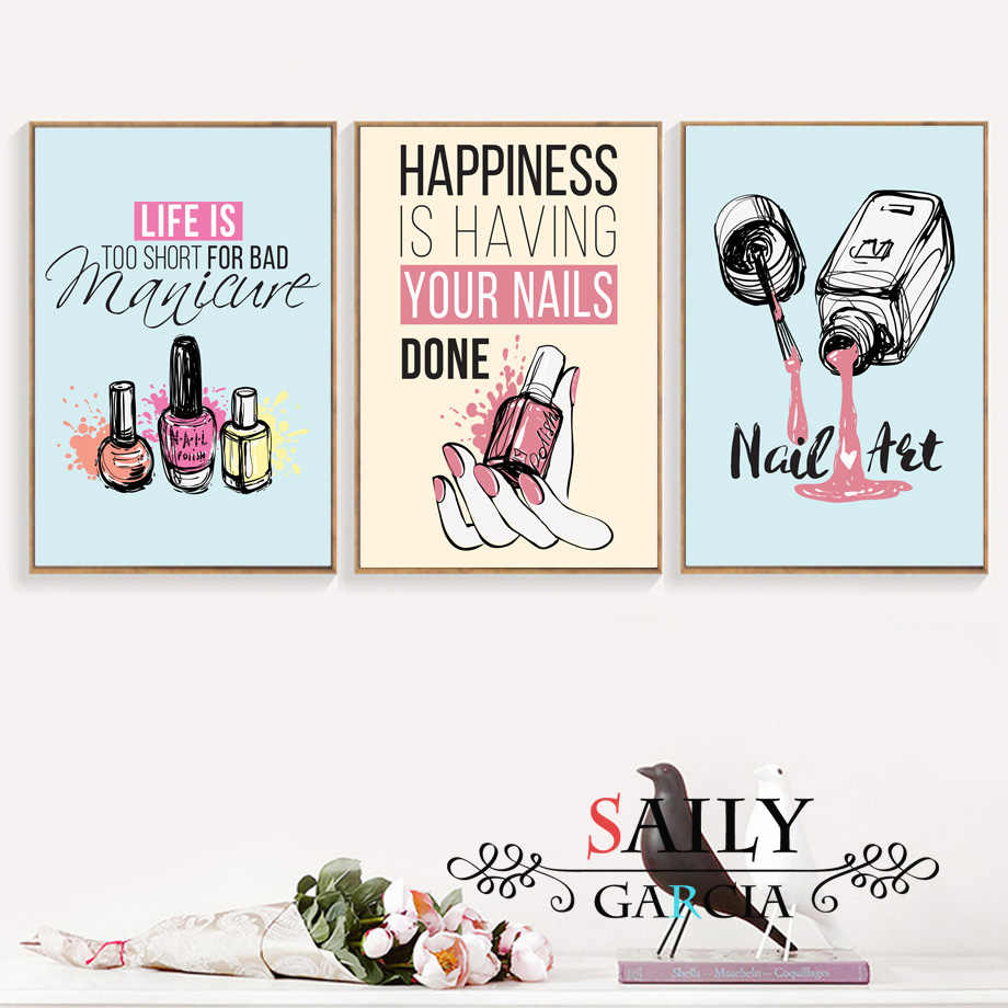 Cartoon Nail Polish Quotes Wall Art Canvas Painting Nordic Posters And Prints Pop Art Salon Wall Pictures For Girl Bedroom Decor