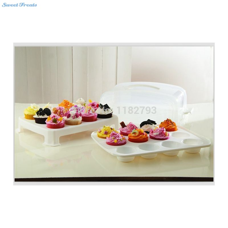 Cupcake Carrier 2 Layer Cake Courier Caddy Pastry Treats Portable Storage Plastic Container Carrying 24 Slot