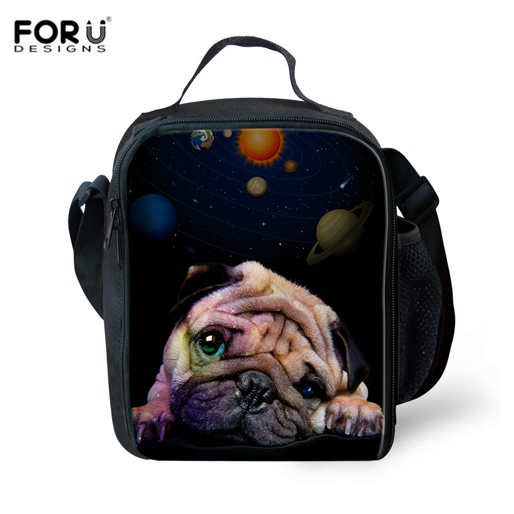FORUDESIGNS Lunch Bag For Kids Thermal Insulated Lunch Box Bag For Children School Girls Boys Galaxy Pugs Cats Pattern Handbags