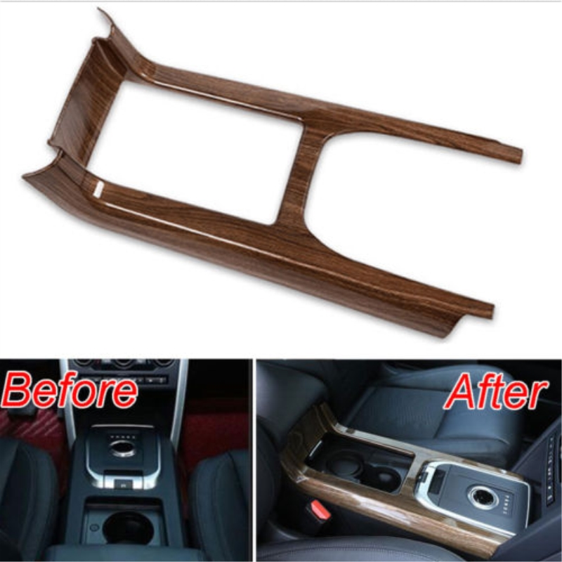 Car Center Gear Shift Box Panel Peach Wood Style Cover Trim For Land Rover Discovery Sport 2015-2017 Car-styling car accessories for land rover discovery sport car styling luxury interior accessory chrome gear shift panel trim sticker dark wood grain 2015