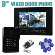 DIYSECUR 9 inch Video Door Phone Door Bell Intercom System IR Night Vision Camera With Keypad Remote Control CCTV Camera