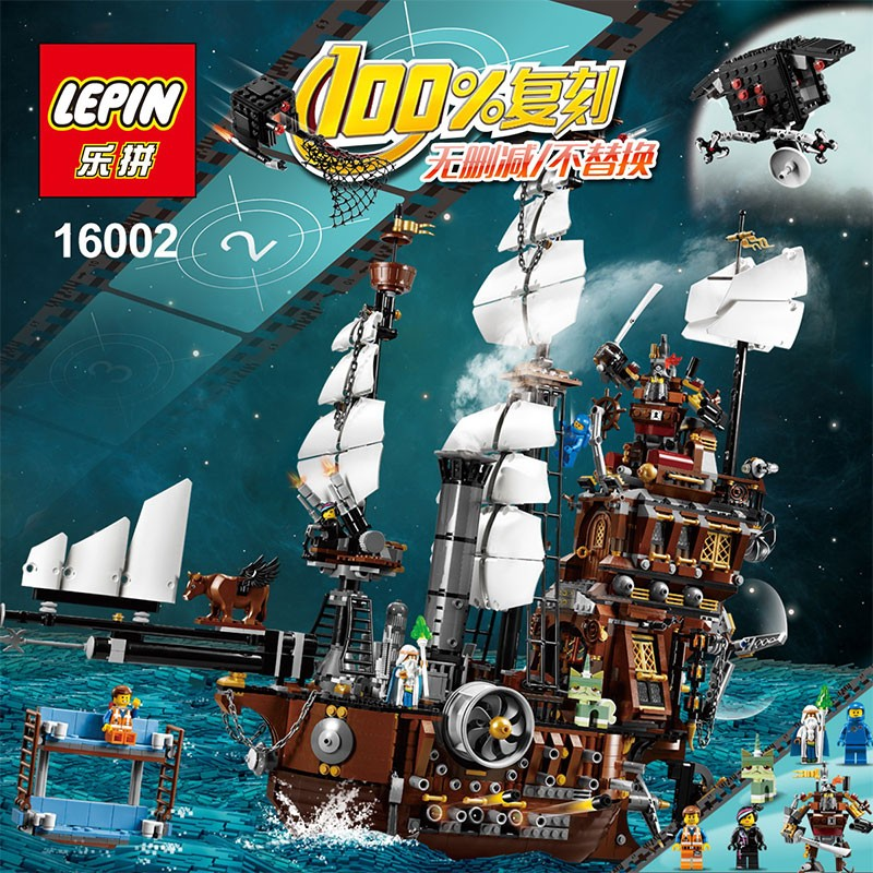 LEPIN 16002 Pirate Ship Metal Beard's Sea Cow 2791PCS Model Building Kits Blocks Bricks Toys Compatible With legoed 70810 free shipping lepin 2791pcs 16002 pirate ship metal beard s sea cow model building kits blocks bricks toys compatible with 70810