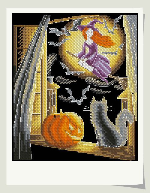 Bobo Cross Stitch Sets For Embroidery Kits High Quality Fabric DMC Cotton Thread DIY Needlework 14CT Flying Halloween Witch