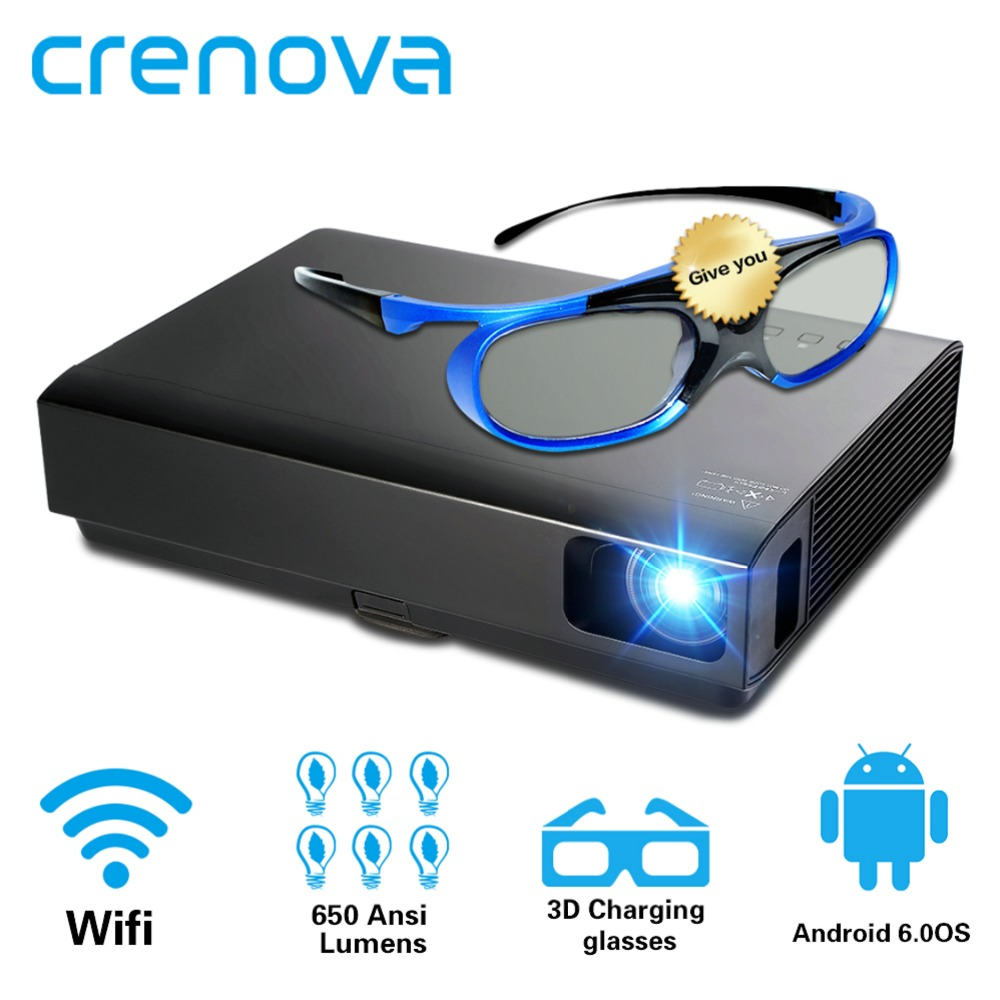 CRENOVA 2019 Più Nuovo Proiettore Laser Per Il Full HD 1080 P Home Theater Movie Android Proiettore DLP HD 720 P WIFI bluetooth Beamer