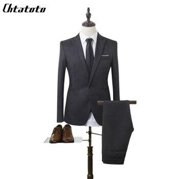 2018 Autumn and Winter Solid Color Men's Suit Suit Business Casual Two-piece Suit + Trousers Groom Dress Suit Office