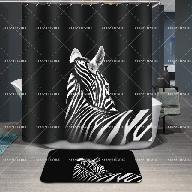 3D Shower Curtain Zebra Polyester Fabric Bathroom Waterproof Washable Animal Curtains 12Pcs Hooks 7272