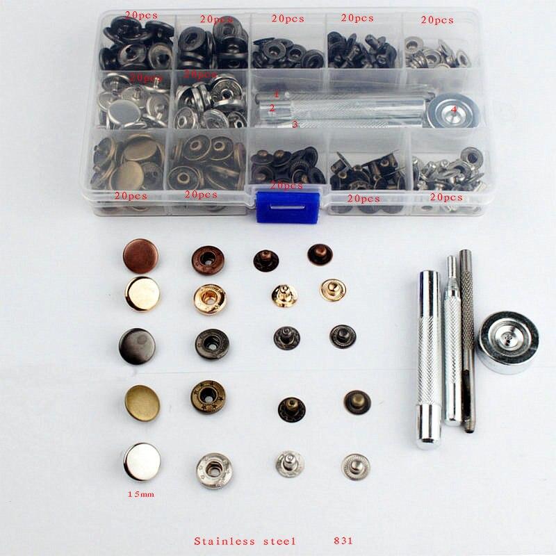 Оптовая 831 snap кнопки + инструмент Металл Пресс Шпильки Швейная Кнопку Оснастки, Крепежа Швейные Leather Craft Одежда Сумки