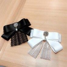 Korea Handmade Lace Solid Vintage Bowknot Rhinestone Pearl Shirt Pins Neck Bow Tie Accessories Fashion Jewelry-YHNLB040F