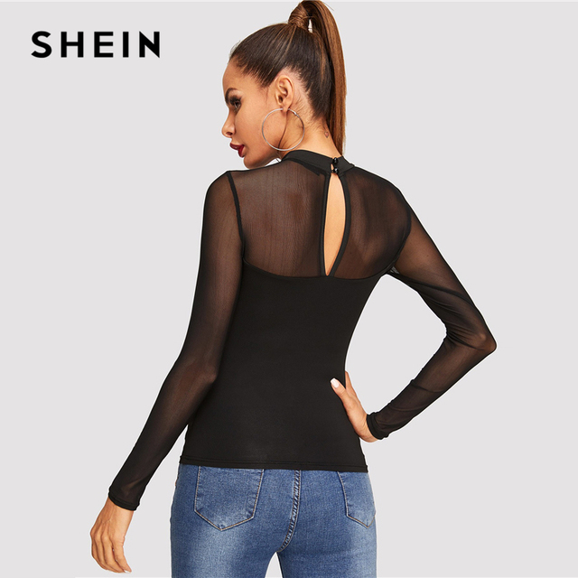 SHEIN Black Office Lady Workwear Solid Contrast Mesh Sheer Long Sleeve Elegant Skinny Tee Autumn Casual Women Tshirt And Top 1