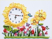 DIY 3D Ribbon Embroidery cross stitch kits sets handmade needlework / sunflowers Room Watch Decor Clock