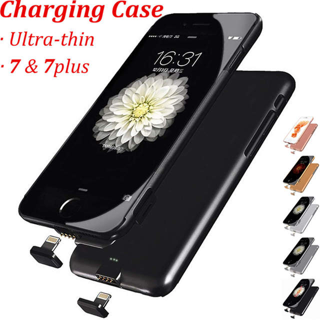 huge selection of 7dbbf ece1c US $17.78 35% OFF|7Plus Slim Case Battery Thin Ultra Smart Charge Cover For  iPhone 7 Plus Luxury Case Black Matt Gold Rose for iPhone7Plus-in ...
