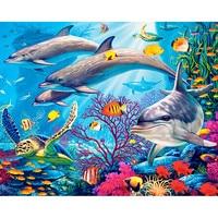 5d diy diamond embroidery colorful fish Scenic diamond painting Cross Stitch full drill Rhinestone mosaic decoration