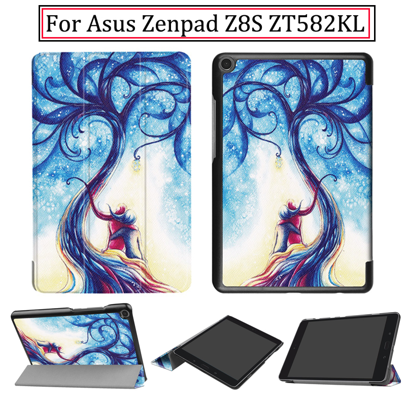 Leather Case For 2017 Newest Asus Zenpad Z8S ZT582KL 8inch Tablet PC Tri-fold Case cover For Asus Z8S ZT582KL with Free Stylus чехол asus для планшетов zenpad 8 pad 14 полиуретан поликарбонат белый 90xb015p bsl320