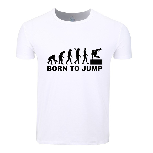 cf2a4c044 Asian Size Men Print Evolution Of Parkour Born To Jump Fashion T-shirt  O-Neck Short Sleeves Summer Casual Homme Tshirt HCP4085
