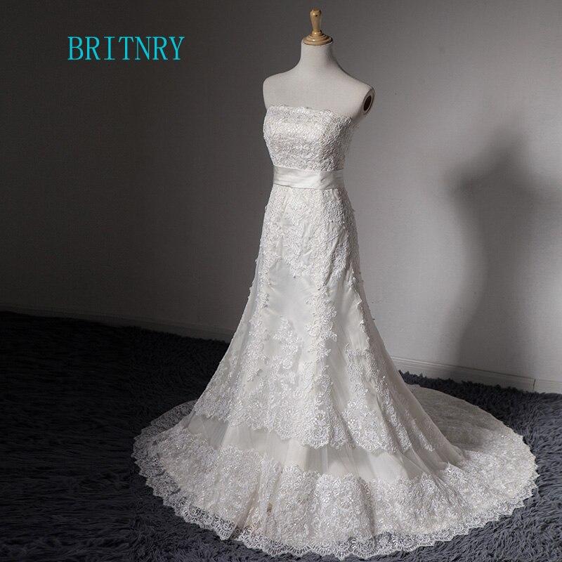 Cheap White Ivory Wedding Dresses Mermaid Lace Appliques: BRITNRY Strapless Lace Mermaid Wedding Dresses Ivory White