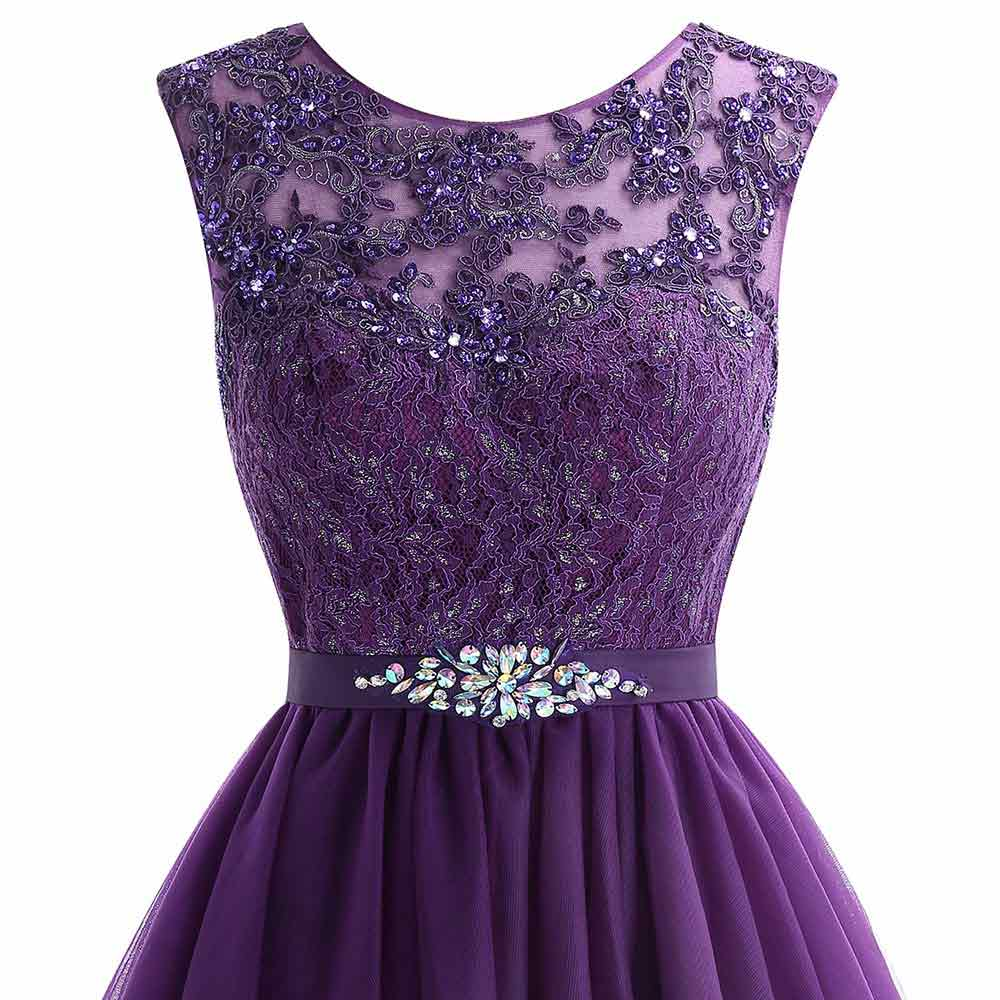 Image 4 - Cute Short Purple Homecoming Dress 2019 Mini Beaded Lace Homecoming Dress Tulle Homecoming Gown Crystal Cheap Graduation Dress-in Homecoming Dresses from Weddings & Events