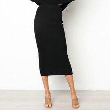 Женская облегающая длинная юбка с высокой талией, облегающие макси юбки, Клубные вечерние повседневные юбки-карандаш W729