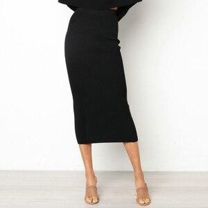 Image 1 - Damska Bodycon długa spódnica wysokiej talii obcisłe długie spódnice Club Party ołówek Casual W729