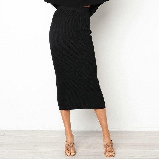 Damska Bodycon długa spódnica wysokiej talii obcisłe długie spódnice Club Party ołówek Casual W729