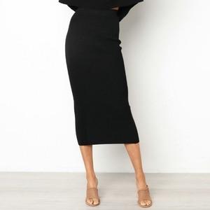 Image 1 - Kadın Bodycon uzun etek yüksek bel sıkı Maxi etekler kulübü parti kalem Casual W729