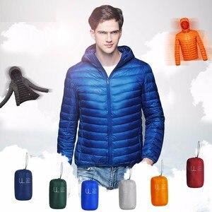 Image 2 - NewBang uzun kaban erkek ultra hafif şişme mont erkek kışlık ceketler hafif ceketler kapüşonlu Parka rüzgarlık tüy Parka