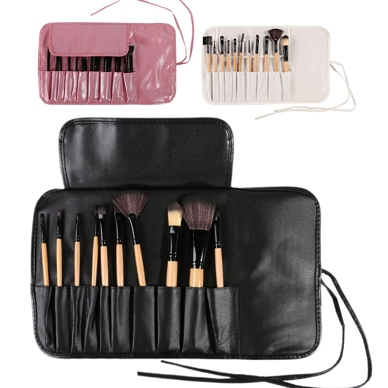 ELECOOL 10 pcs Make Up Brush Set Case Cosmetic Bag Travel Package Make-up Toiletry Kit Empty Make Up Brush Set Kit Bag