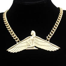 Vintage Egyptian Goddess Isis Ankh Wing Chunky Choker Colar Curb Chain Necklace Bib Wicca Pagan Witcher Indina Anime Jewelry