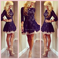 Vestidos De Renda 2017 High Neck Navy Blue Lace Tulle Cocktail Dress Short Prom Party Gowns With Sleeves