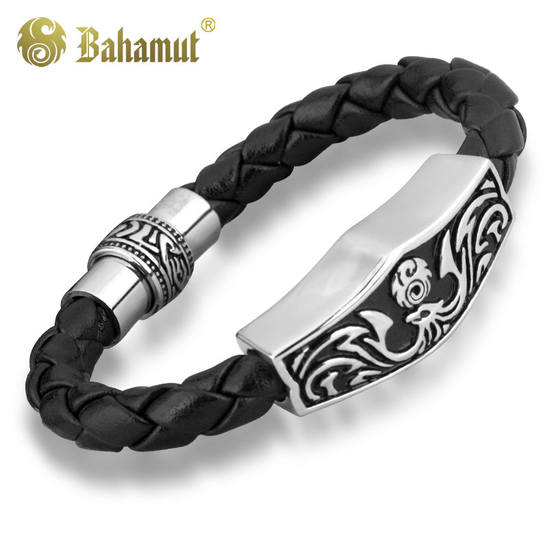 magnetic bling leather steel clasp stainless bracelet barrel cb jewelry mens black