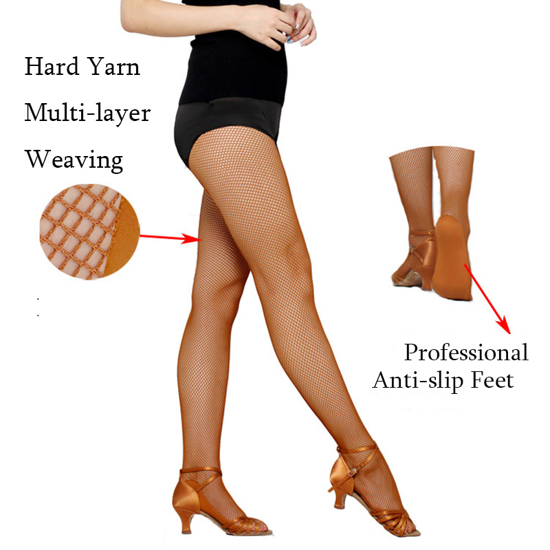 Special for Competition Women Professional Fishnet Tights For Ballroom&Latin Dance Hard Yarn Elastic Latin Stockings Pantyhose