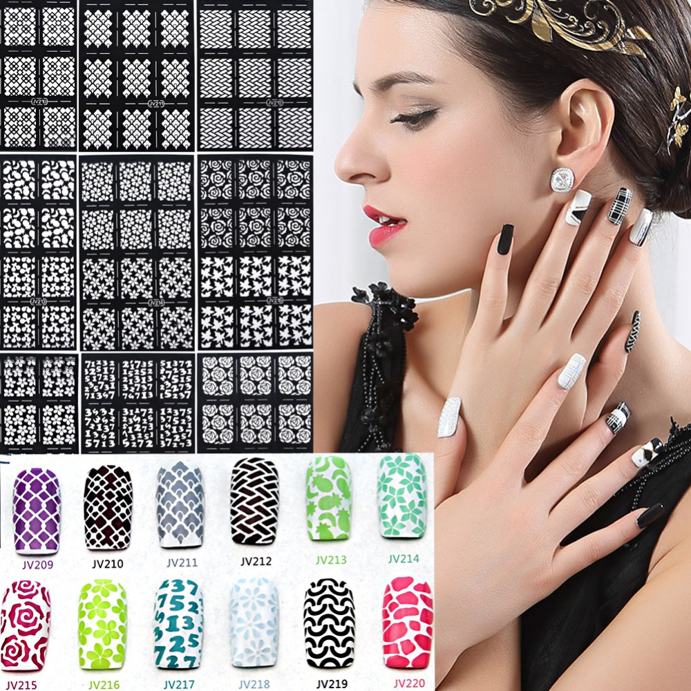 20pcs/1set 12 Tips/Sheet Nail Art Stencil Stickers Mesh Pattern Nail Vinyls Easy Use JV Series 12 tips sheet laser nails vinyls nail art manicure stencil nail art hollow stickers decoration tools accessories