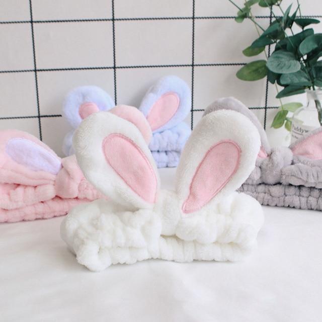Sevimli Tavşan Kulak Yıkama Yüz Makyaj için Headbands Duş Spa Maske yumuşak ve Sevimli Tavşan Kulak Saç Bantları Kadınlar ve Kızlar için HB022