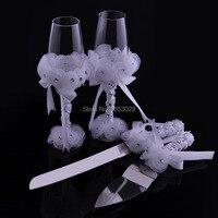 2016 Yeni 4 adet/takım Düğün Pastası Bıçak ve Sunucu Seti + Düğün Kızartma Flüt Şampanya Gözlük Düğün Dekorasyon Mariage Boda