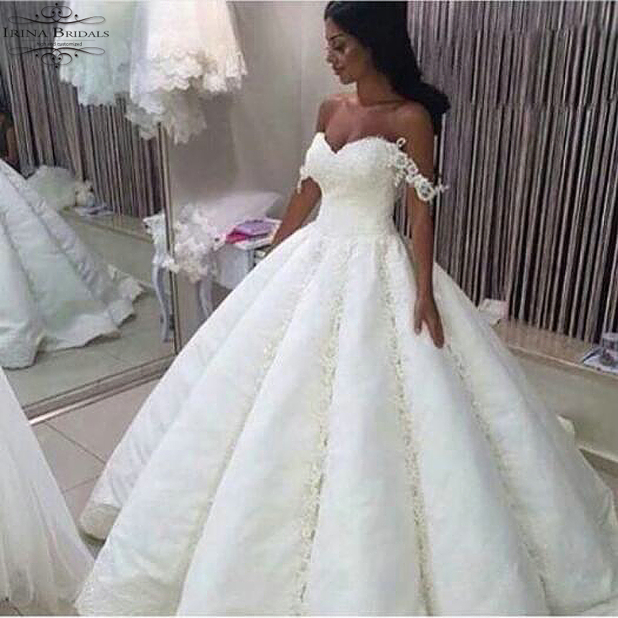 alibaba retail store Off Shoulder Lace Pleat Ball Gown Wedding Dress ...